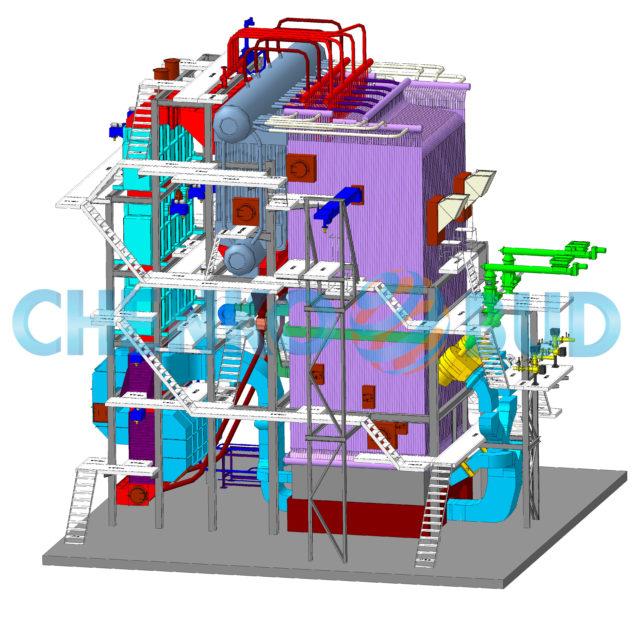 Паровой котёл на лузге подсолнечника производительностью 25т в час