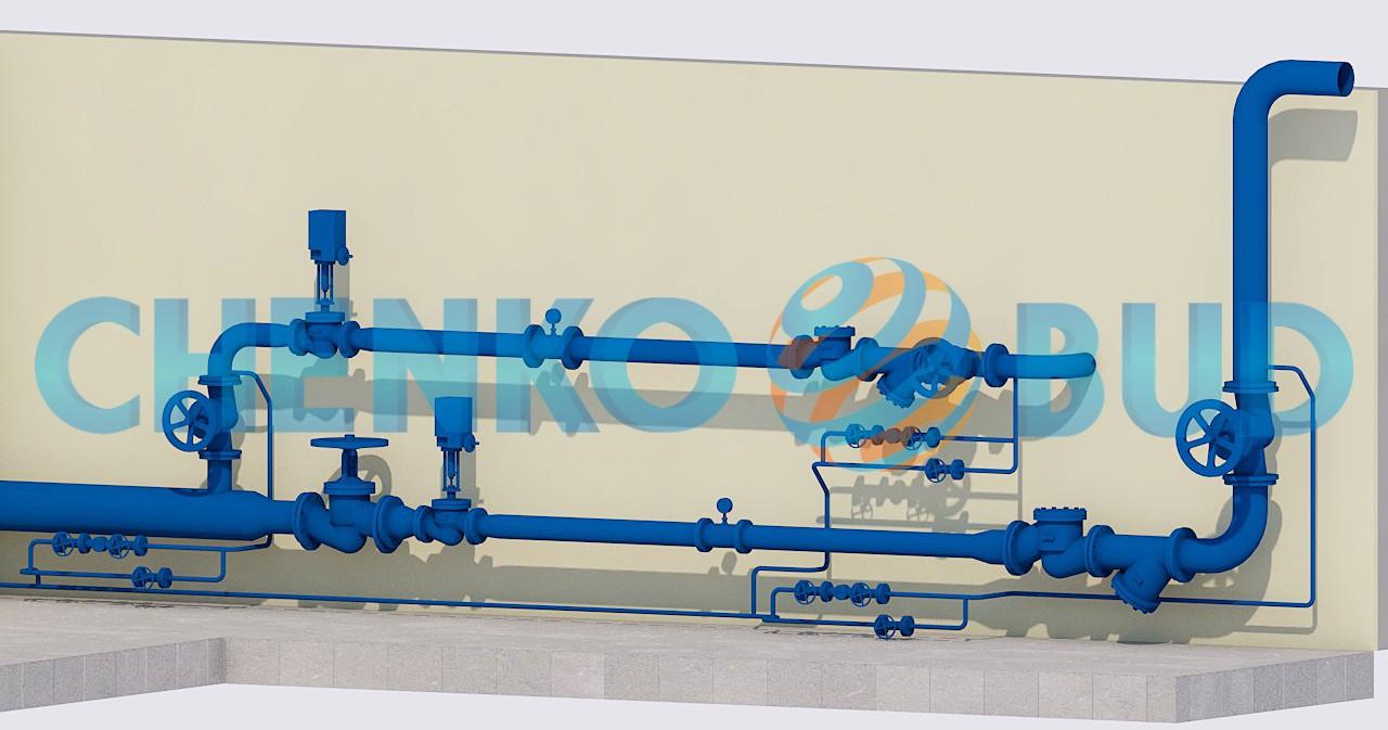 Схема узла введения паропроводов в котельную ООО «ПК «Днепровский»
