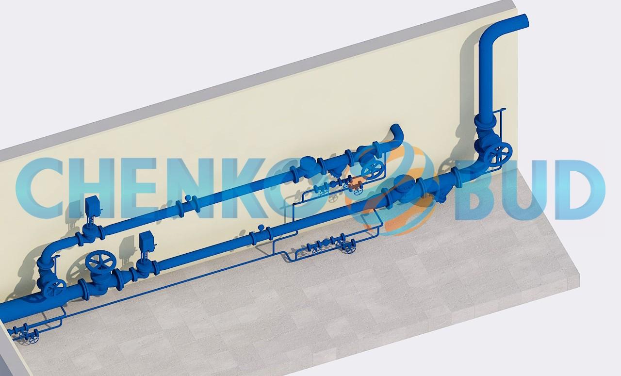 Схема узла введения паропроводов в котельную Птицекомплекса «Днепровский»